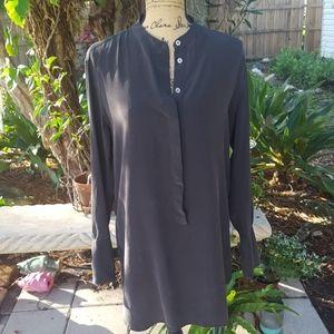 Equipment charcoal gray silk blouse